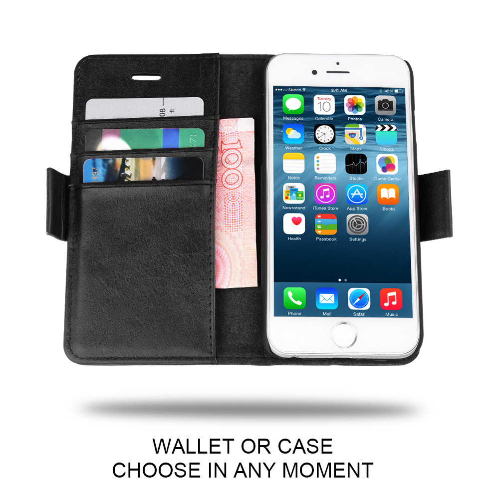 C&T Detachable Card Slots Holder Wallet Leather Phone Case for iPhone 6S Plus