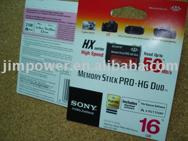 SONY MS-HX16B PRO DUO 16GB Memory Card 50 MB/s