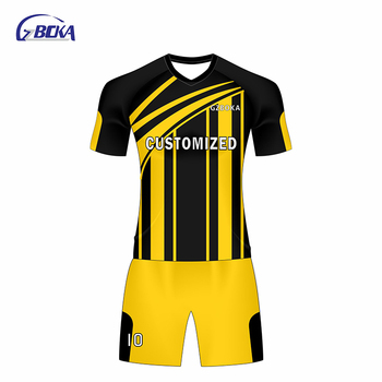 b996ade4e Wholesale cheap football jersey soccer shirt black yellow sublimation soccer  uniforms for teams