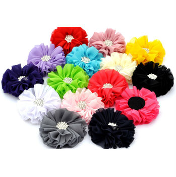 "NEW 2.5"" Ballerina Flowers Chiffon Flowers With Starburst Button 15 COLOR"