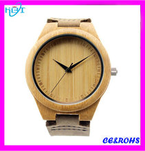 2016 NEW fashion style 5ATM waterproof leather strap wood watch