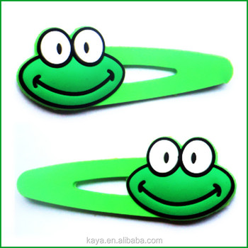 rubber decorative hair clips with frog shape