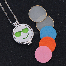 Emoji Pendant Locket Necklace Jewelry Essential Oil Diffuser Necklace