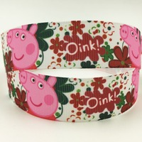 25mm pig cartoon character custom printed grosgrain ribbons wholesale