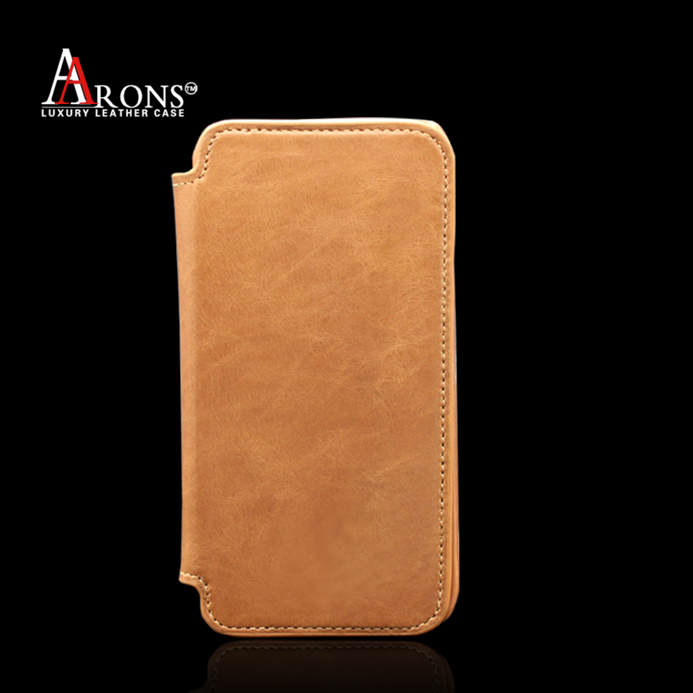 Genuine leather stand phone case folio opening wallet case for iphone6