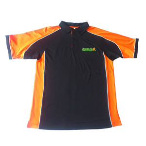 "Mens custom 100% polyester breathable eyelet black and orange embroidered with 2"" heigh side splits work polo shirt"