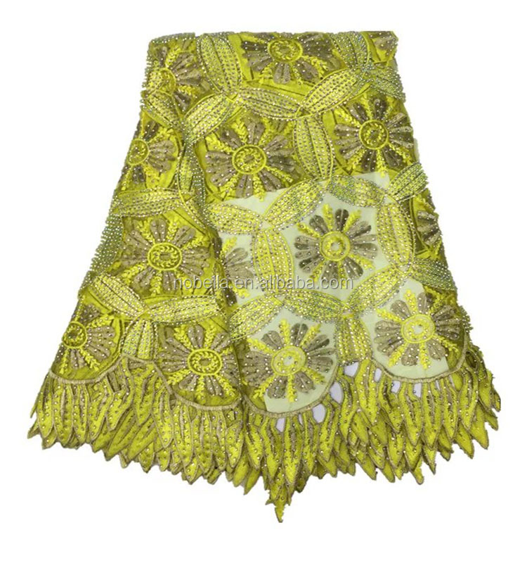 Golden Latest African Guipure Beaded Lace Embroidered Tulle Fabric, African French Net Lace Fabric Stone Fabrics