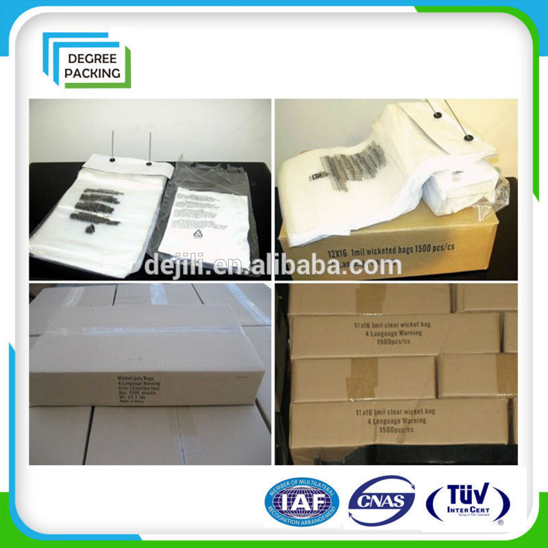 plastic food packing wicket bag with FDA standard