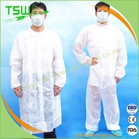 Latex free nonwoven lab coats/ nonwoven long robes