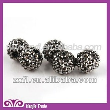 Loose Round Plastic Rhinestone Beads Spacers Jet AB