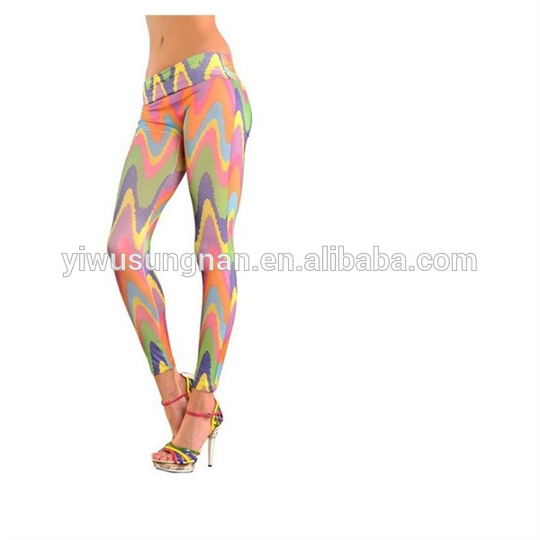 Women's Lace Sheer Mesh Inset Stripes Ankle Length Footless Leggings