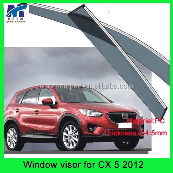 3-4.5mm PC Material 12months warranty car plastic visor for CX 5 2012
