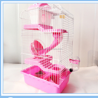 wholesale 3 layers samll metal pink custom animal pet hamster house cages with castle style for sale