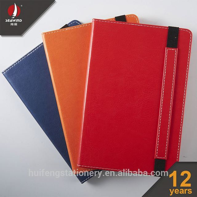 custom case bound book printing pu leather elastic notebook with pocket