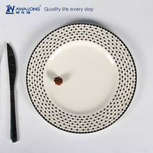Unique plain design round shaped dish / marine dinnerware from china with black spot