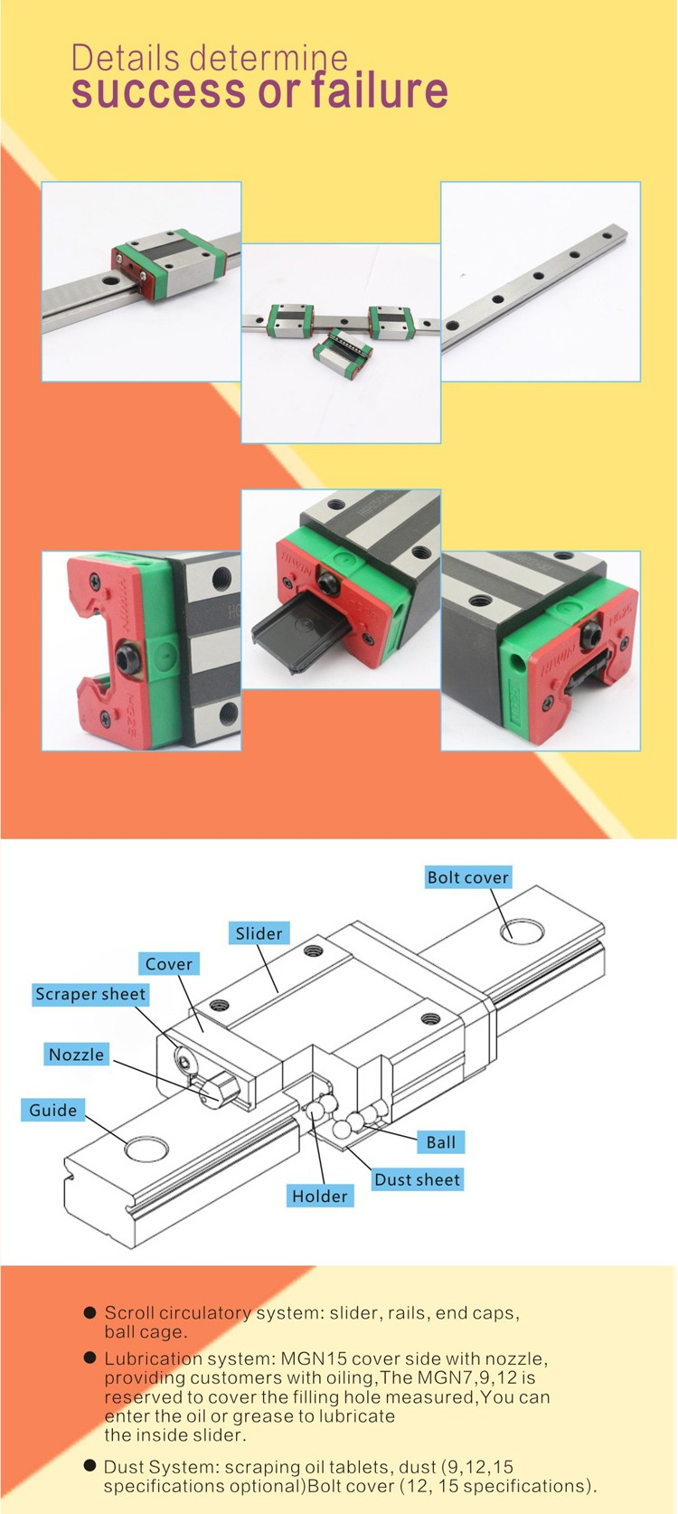 Alibaba recommend linear motion bearing rails linear guide bearing hg20 linear guide rail block bearing