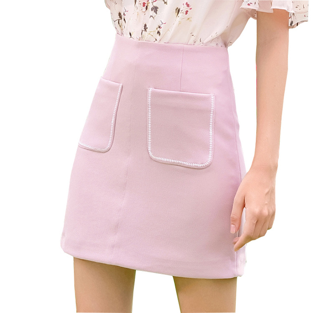 Casual pure color pocket Aline patchwork short pencil skirt women