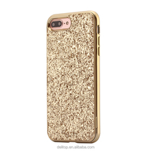"Newest Luxury 2 in 1 Glitter Powder Bling Metal Frame Bumper Back Case For Apple iPhone 6 4.7""/6 plus 5.5""/7 4.7""/7 plus 5.5"""