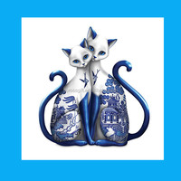 cute hand-made animal blue white porcelain figurines
