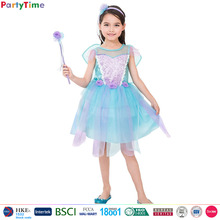 2017 fashions designer one piece party simple dress for kids wear, lilac floral fairy dresses for girls dress party