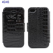 Flip The Crocodile Grain Slim Smart Hot Cute Cover Case For Iphone 4 Cell Phone Accessories