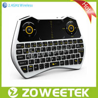 2.4g wireless fly mouse keyboard with touchpad & backlit & microphone & earphone jack combo