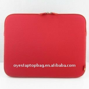 red briefcase neoprene laptop bag