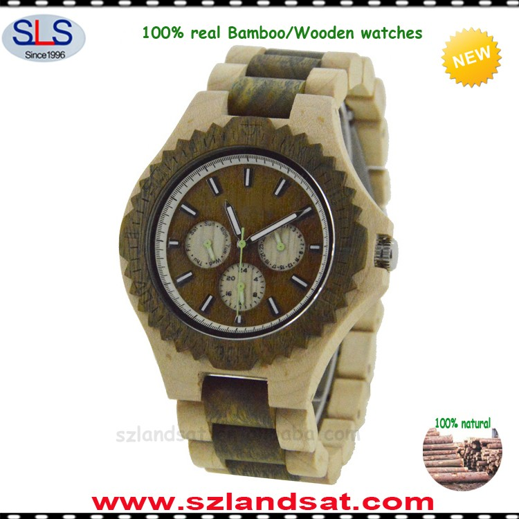 2017 hot sale cheap real wooden leather watches manufacturer BW23a