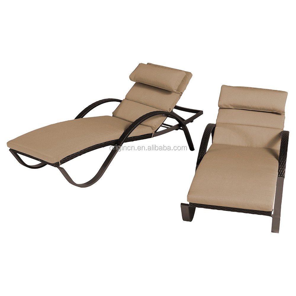 Line shaped beach swimming pool sun lounger plastic viro wicker outdoor furniture
