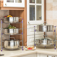 Standing Pan Rack stainless steel pot stand 4 tiers household corner shelf