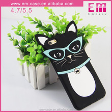 For iPhone 6 New Arrivals Glasses Cat Animal Phone Case,Soft Silicone Phone Shell for iPhone 6