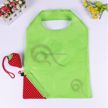 Reusable waterproof foldable polyester shopping bag, eco-friendly convenient folding strawberry shopping bag