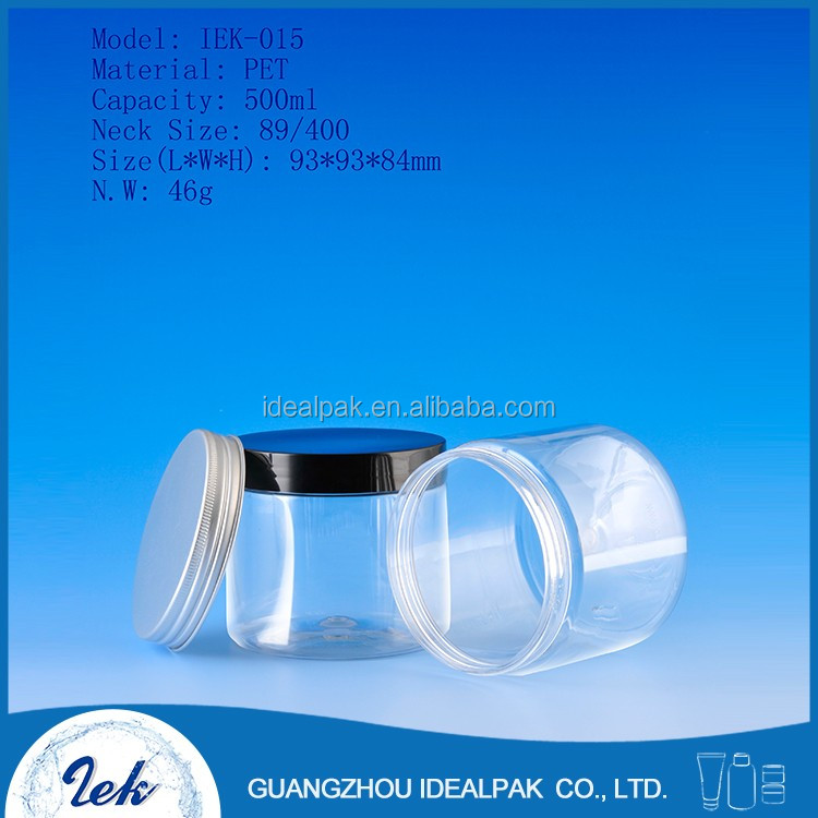 500ml PET plastic cosmetic packaging cream jar/Plastic Containers/Cosmetic Containers