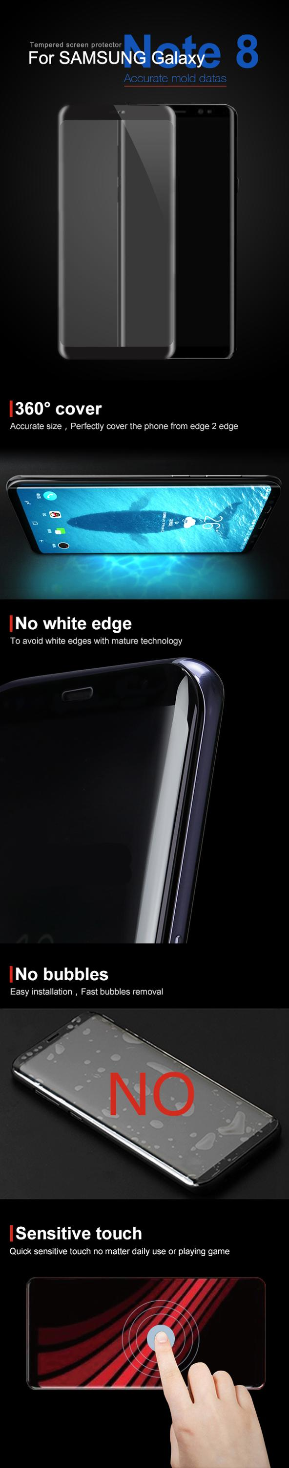 Full Glue 3D Note8 Tempered Glass Screen Protector / Full Glue Tempered Glass For Note 8