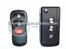 factory direct modified 3 light button remote flip car key blank for Nissan tiida key shell