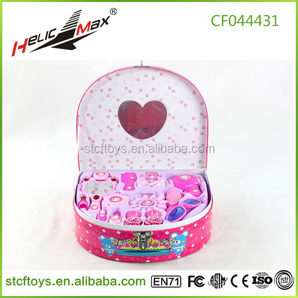 Girl style beauty makeup set toys fashion makeup mirror set plastic makeup boxes toy for kids