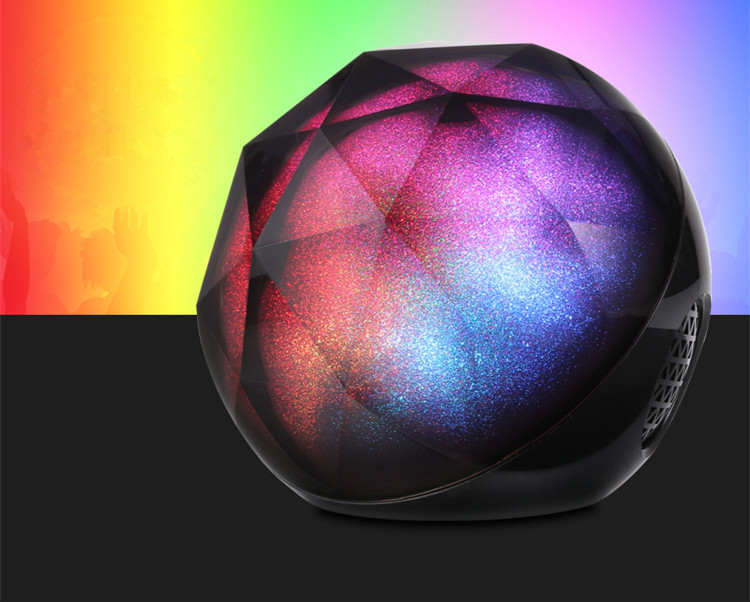 Portable Mini Hands-free Crystal Diamond Magic Colorful Led light Ball Wireless Speakers Subwoofer Bluetooths Audio Soundbox