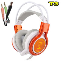 5.1 channel usb Vibration function professional mobile phone headphone jd-t3 with colorful LED light glare to the music
