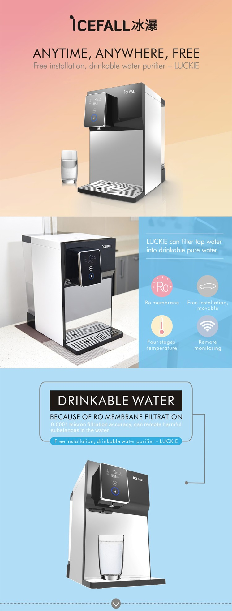 Household home portable drinkable water purifier, 4L water tank