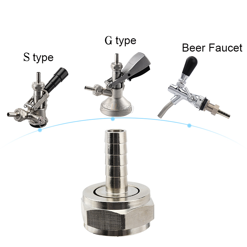 "Connector Kit for Beer Lines,5/16"" Straight Barb tail Use with G5/8 Hex Nut For Keg Coupler Beer Faucet"