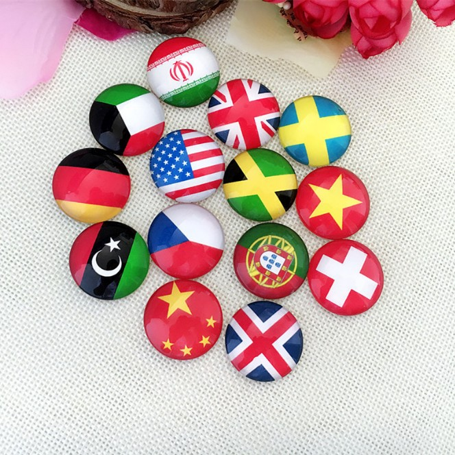 Wholesale Best Price 25mm round flatback handmade national flags glass cabochons for DIY jewelry