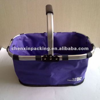 one handle folding shopping basket