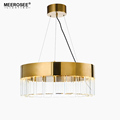 MEEROSEE New Design Golden Round & Rectangle Pendant Suspended Lights Stainless Steel Glass Hanging Lamp for Dining Room MD85517