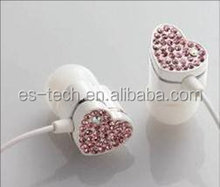In ear style and flashing crystal cap,noise cancelling,microphone function earphone