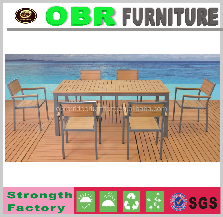 Hot sale modern garden teak wood dining table and chairs set cheap outdoor furniture