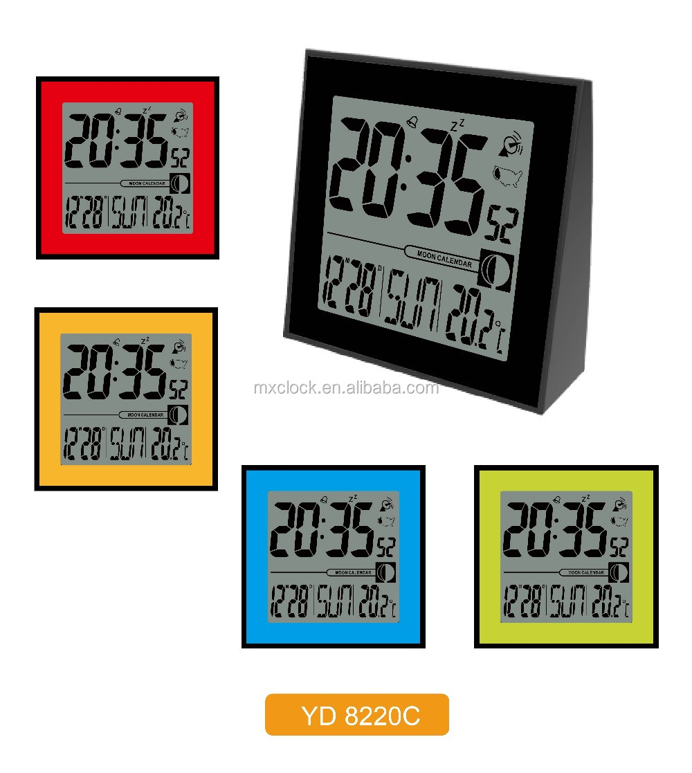 LARGE LCD multifunctional digital table calendar clock with temperature