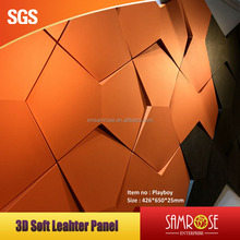 Fashion decorative wall covering 3D soft leather panel sound proof panel