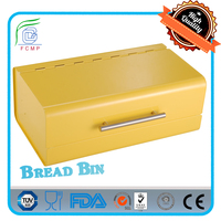 Vintage FDA/ LFGB kitchen corner steel bread case yellow