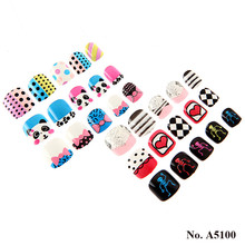 A5100 Smart Artificial Nail tips Cartoon press on Full cover fake nails for Kids