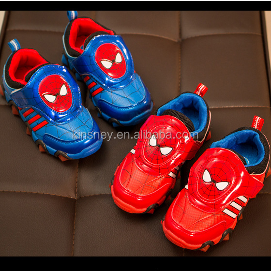 KS10012S 2016 Hot selling boys spiderman pattern running shoes latest design kids sports shoes